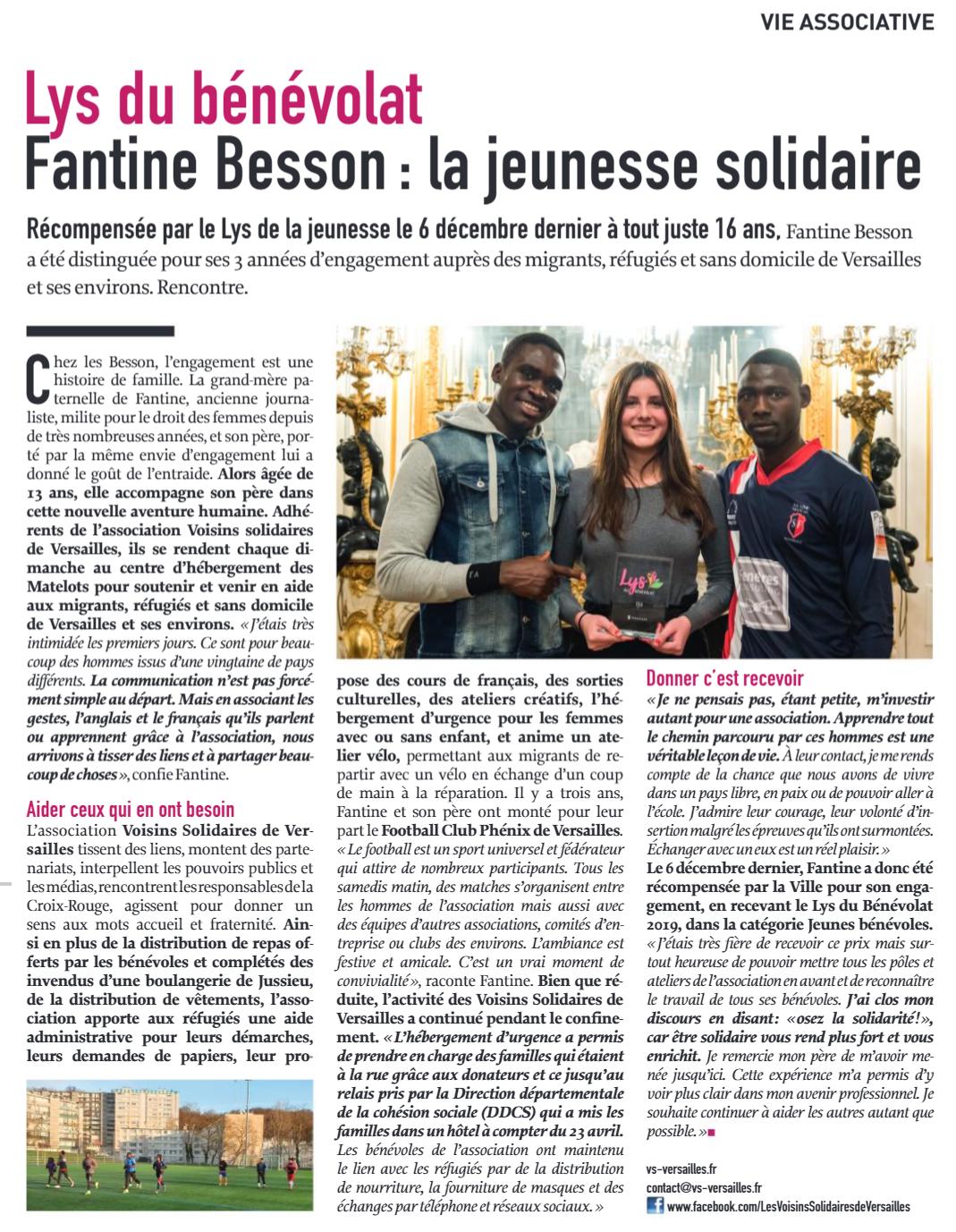 """Article septembre 2020 de """"Versailles Magazine et vous"""""""